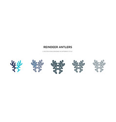 Reindeer antlers icon in different style two vector