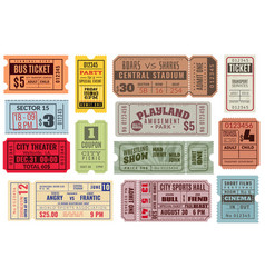 retro tickets vintage cinema ticket concert and vector image