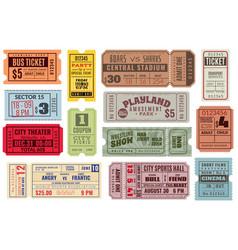 Retro tickets vintage cinema ticket concert and vector