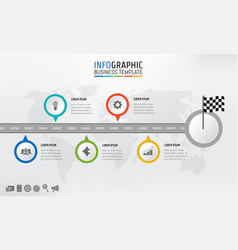 road map business timeline info graphics with vector image