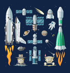Rocket spaceship or spacecraft and vector