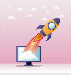 Rocket start up with desktop computer vector