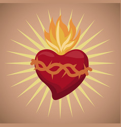 Sacred heart blessed image vector