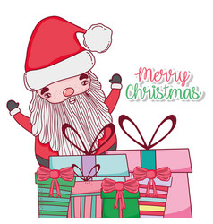 santa claus with presents to celebrate chritsmas vector image