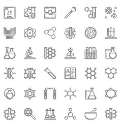 science and chemistry concept outline icons vector image