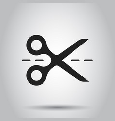 Scissors icon with cut line scissor vector