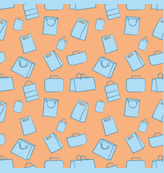 seamless pattern hand drawn doodle baggage icons vector image