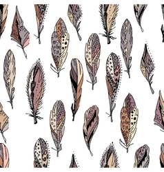 Seamless pattern with feathers Endless texture vector image