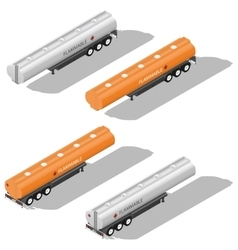 Semitrailer tanks for fuel detailed isometric icon vector
