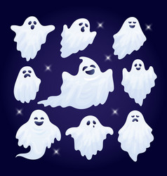 set of funny halloween ghost characters vector image