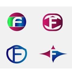 Set of letter F logo icons design template element vector image