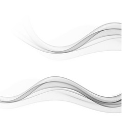 set stylish abstract gray waves on white vector image