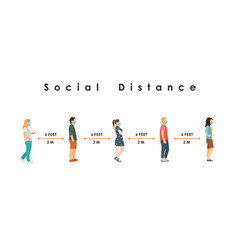 social distance full length sick people vector image