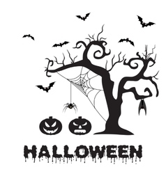 Spooky silhouette of Halloween tree pumpkin vector image