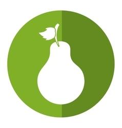 Sweet pear fruit green circle shadow vector