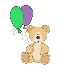 Teddy Bear is sitting with balloones vector