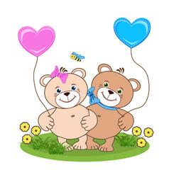 teddy bear with heart vector image