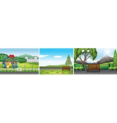 Three scenes of public park vector