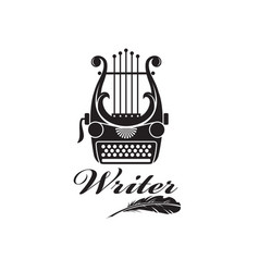 typewriter and lyre vector image