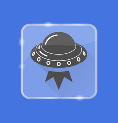 ufo spaceship silhouette icon in flat style vector image