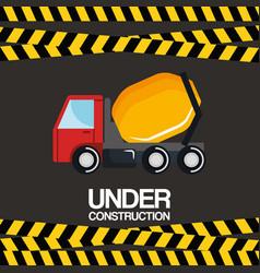 Under construction truck mixer vehicle poster vector
