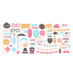 wedding accessories photo booth set party vector image