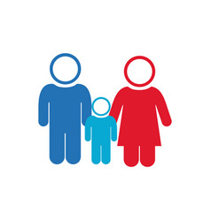 White background of pictogram with couple and son vector