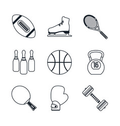 white background with black silhouettes of sports vector image