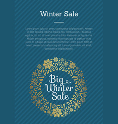 winter sale poster in frame made snowflakes vector image