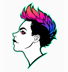 Woman portrait with fashionable mohawk vector