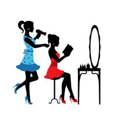 women in a beauty salon vector image
