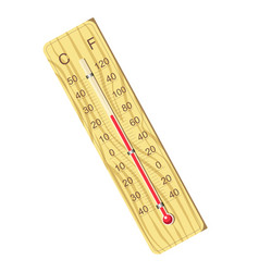 wooden thermometer for air temperature measurement vector image
