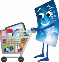 credit card shopping trolley vector image