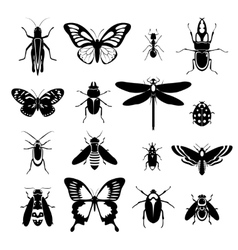 Insects icons set black and white vector image