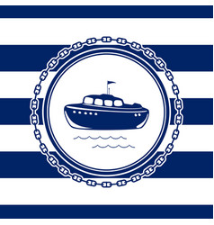 Marine emblem with a lifeboat vector