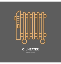 Oil heater line icon electric radiator vector