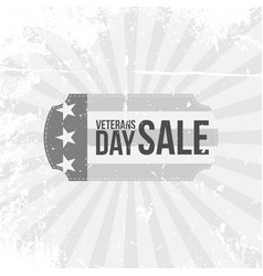 vintage label with veterans day sale text vector image