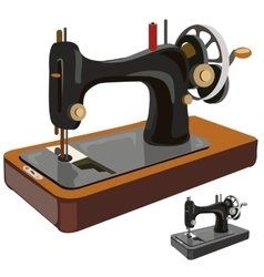 Vintage sewing machine isolated vector image