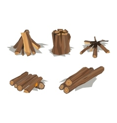 Firewood stack wooden material vector image
