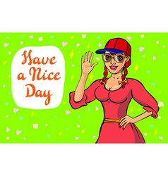 Cute girl wish you a nice day It can be used as vector image