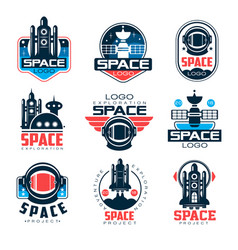 Exploration space logo set space project vector