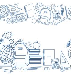 horizontal seamless borders of education items vector image vector image