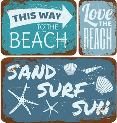 Old Rusty Beach Tin Signs Collection vector image vector image