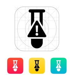 Test tube with warning sign icon vector image