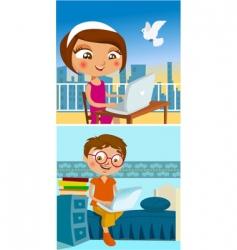 boy and girl chatting vector image vector image