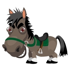 Dark stallion with red eyes cartoon character vector image vector image