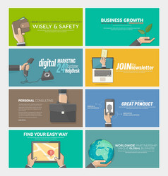 Flat web infographics concept banners for business vector image vector image