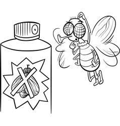 fly and bug spray coloring page vector image vector image