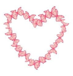 Heart made of butterflies vector