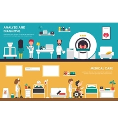 Medical care analisys and diagnostics flat vector